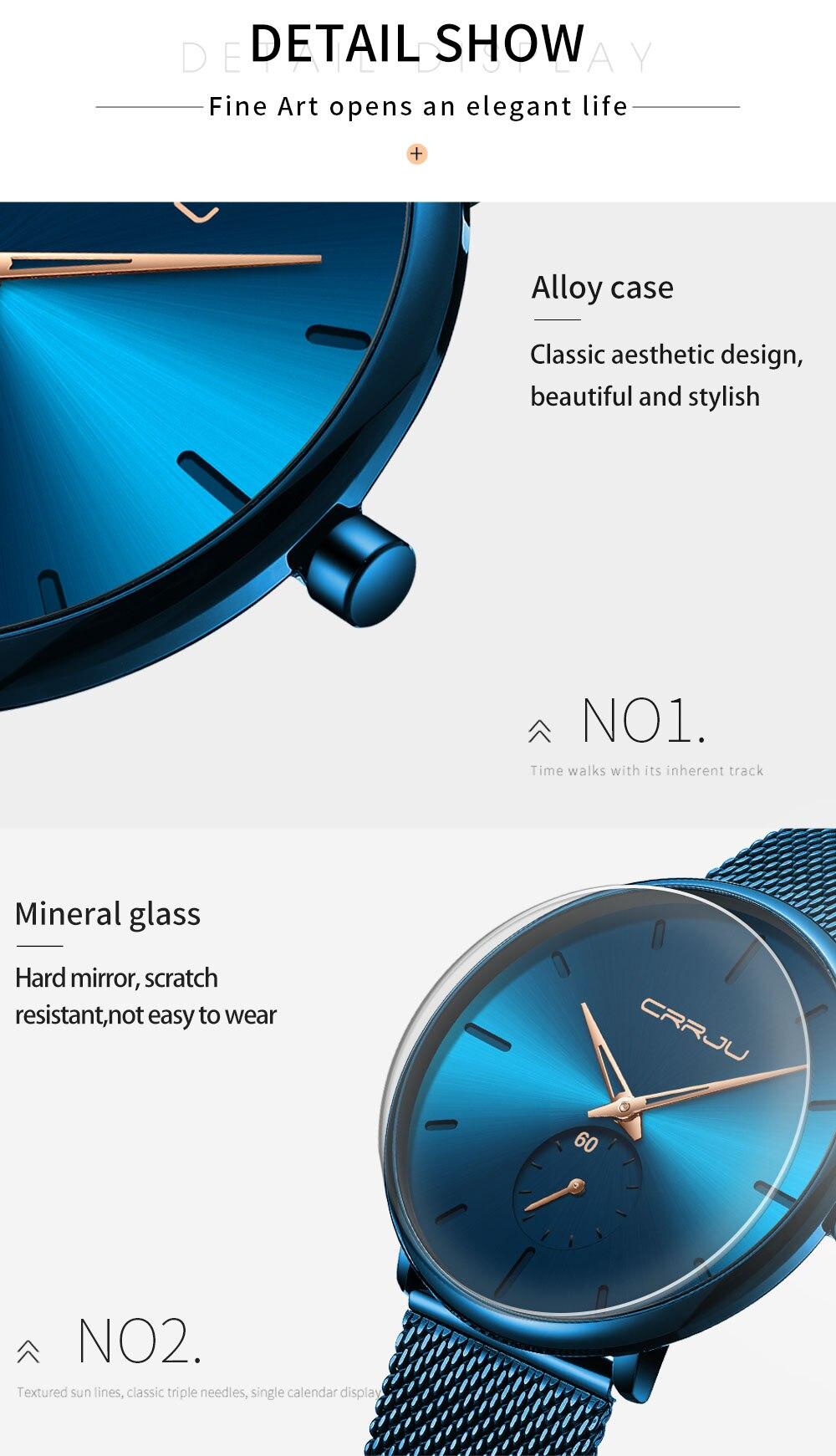 Hfe73293907f744baac8ed214e01416a3c CRRJU Ultra Thin Blue Stainless steel Quartz Watches Men Simple Fashion Business Japan Wristwatch Clock Male Relogio Masculino