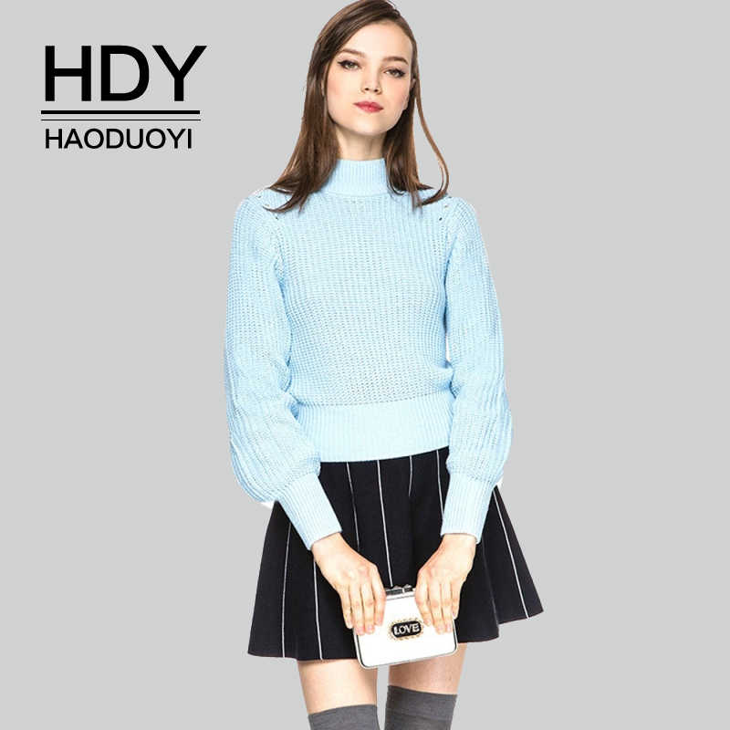 HDY Haoduoyi Autumn Winter New Fashion Casual Women's Casual Turtleneck Lantern Sleeve Knitted Tops Pullover Ladies Blue Sweater