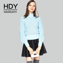 HDY Haoduoyi Autumn Winter New Fashion Casual Women's Casual Turtleneck Lantern Sleeve Knitted Tops Pullover Ladies Blue Sweater(China)
