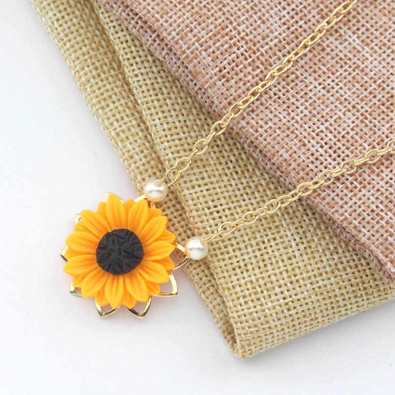 ผู้หญิงใหม่ดอกทานตะวันทองจี้สร้อยคอที่กำหนดเองของฉัน Sunshine เปิด Locket เครื่องประดับสำหรับเพื่อน