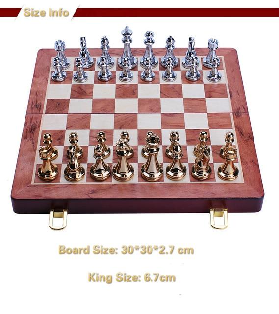 Jeu d'échecs professionnel 30cm, pièces Bronze doré et argenté brillant, échiquier pliant en bois massif de haute qualité 4