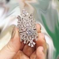 Dazz S925 Silver Brand Luxury Multilayer Stackable Crown Ring Jewelry Women Wedding Cubic Zircon Detachable 3 Piece Rings Dubai