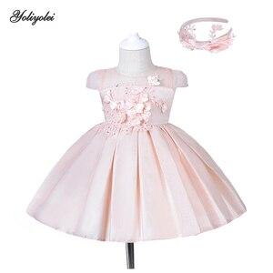 Yoliyolei/праздничные вечерние платья для маленьких девочек; Элегантное детское платье для девочек; Детская повязка на голову; Одежда до колена;...