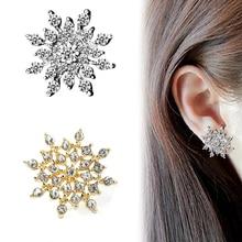 1Pair Jewelry High Quality Gems Glittering Rhinestone Ear Earrings Female Exquisite Dazzling Zircon Snowflake Sparkling Earrings