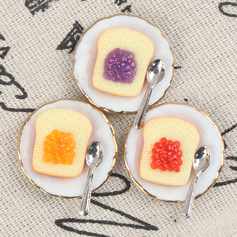 2pcs 1/12 Mini Breakfast Egg Toast Coffee Cup Model Miniature Dollhouse Play Kitchen Restaurant Dollhouse Decals Random