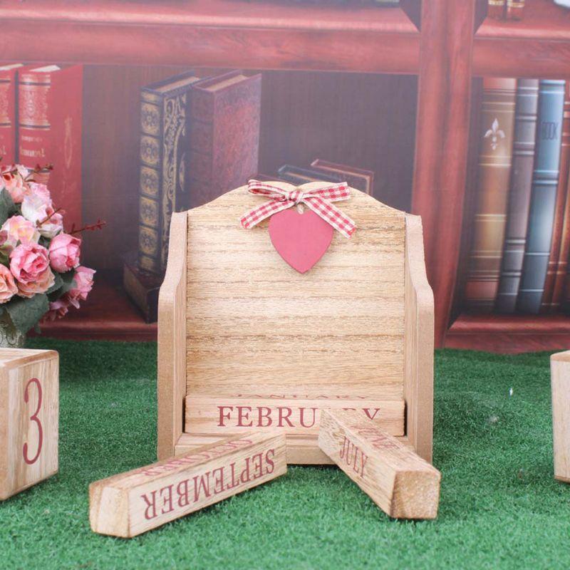 Image 3 - Vintage Wooden Perpetual Calendar Month Date Display Eternal Blocks Photography Props Desktop Accessories Home Office DecorationCalendar   -