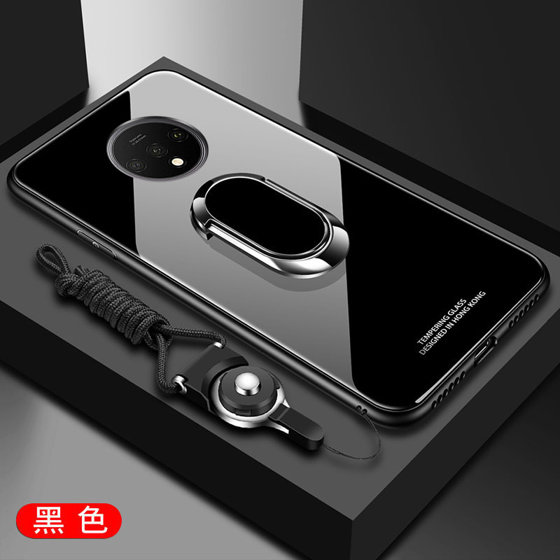 For OnePlus 7T Case Luxury Hard Tempered Glass With Stand Ring Magnet Protective Back Cover Case for one plus 7t pro oneplus7t