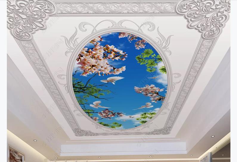 3D Printing Ceiling Wallpapers European Embossed Pattern Wallpaper For Walls 3 D Waterproof Bathroom Kitchen Wallpaper