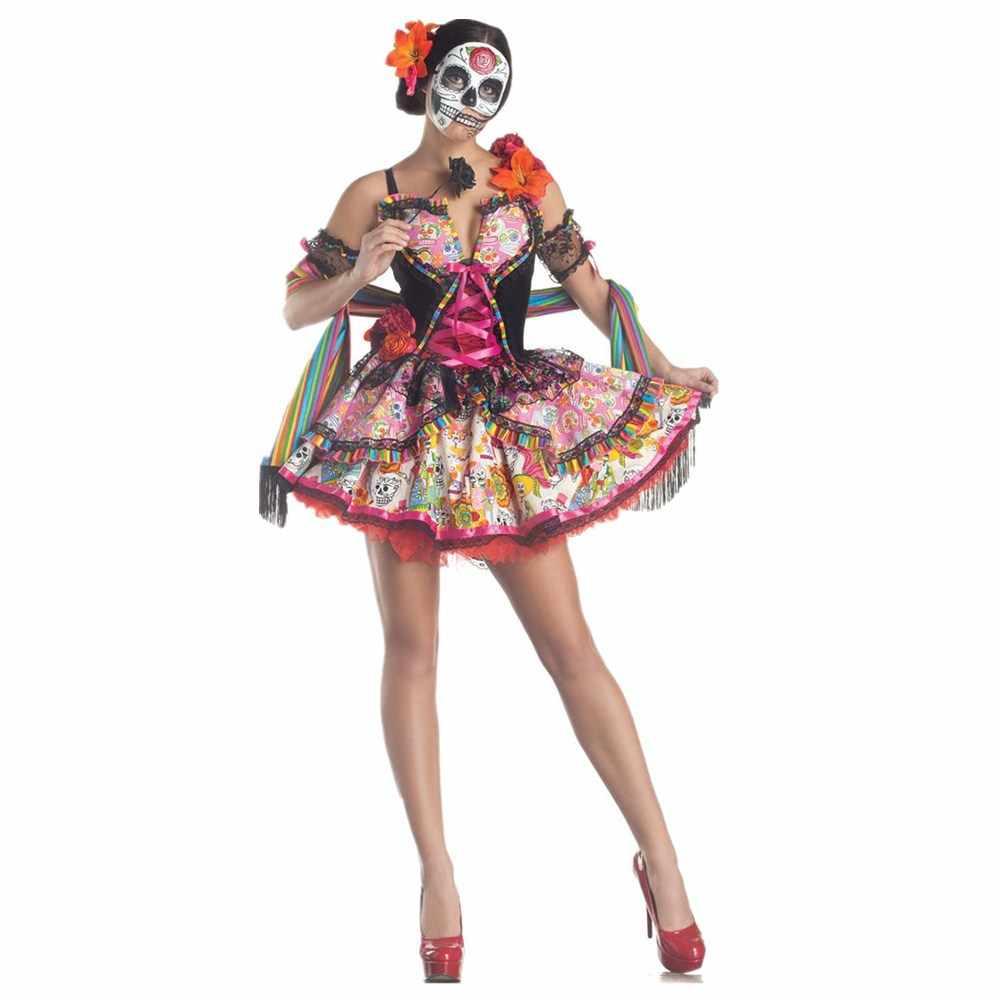 Ladyเม็กซิโกวันแห่งความตายเครื่องแต่งกายสยองขวัญSkull Skeleton Corpseเจ้าสาวคอสเพลย์Carnivalฮาโลวีนชุดแฟนซี