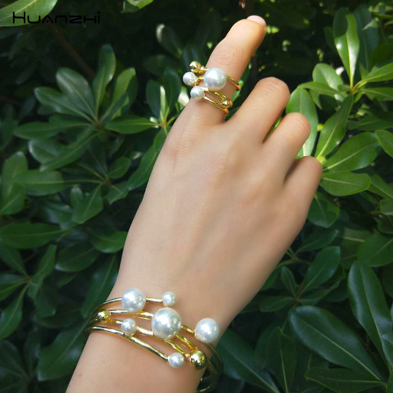 HUANZHI 2019 Multi-layer Hollow Pearl Opening Adjustable Gold Metal <font><b>Ring</b></font> <font><b>Bracelet</b></font> Bangle for Women Girls Party Wedding Vacation image