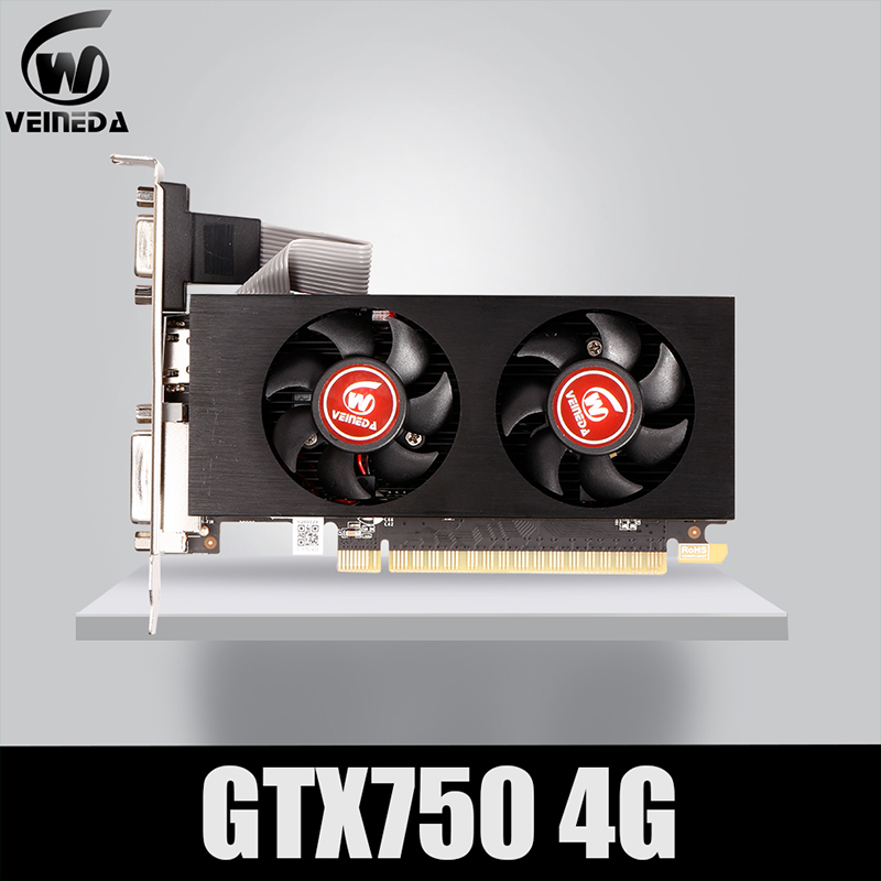 Veineda Graphics Card GTX 750 4GB 128Bit  5012mhz GDDR5 video card  VGA Cards For nVIDIA Geforce Game stronger than R7 350 2GB 1