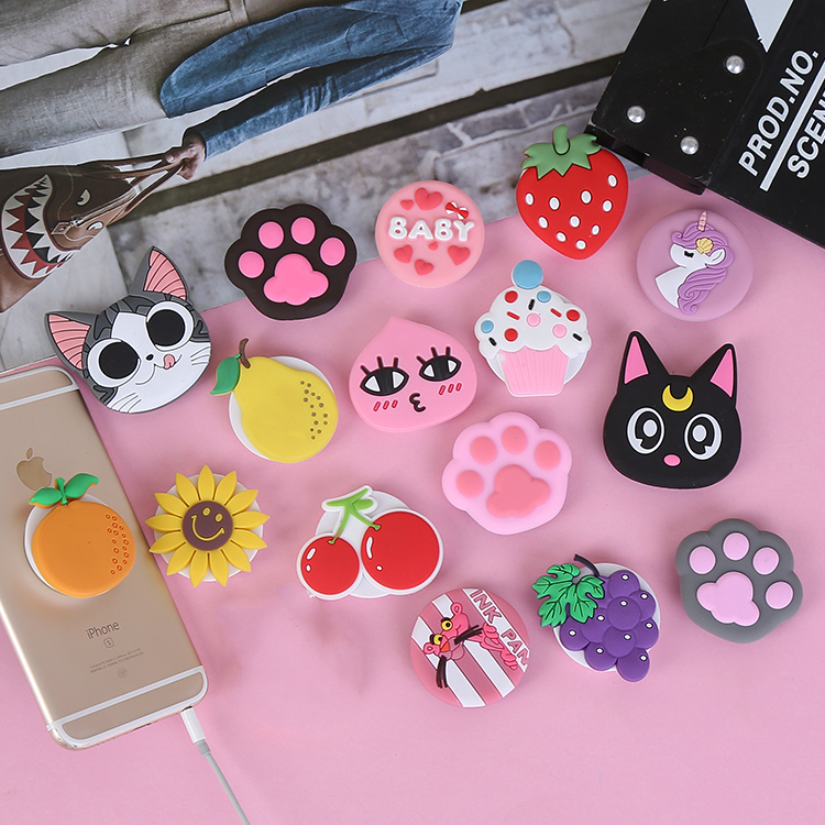 Universal Mobile Phone Holder Elastic Bracket Lovely Cartoon Cat Claw Airbag Phone  Stand Phone IPhone7 8 X XR XS 11 Pro Huawei