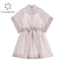 2021 été Doux Style Évider Maille Femmes Mini Robe D'été Mode Taille Haute À Lacets Demi-Col Chemise Robe Dame