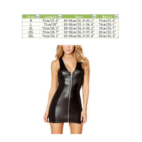 Wanita PVC Erotis Leotard Kostum Lateks Bodysuit Catsuit Wanita Wet LOOK Mini Gaun Hitam Perban Kulit Seksi