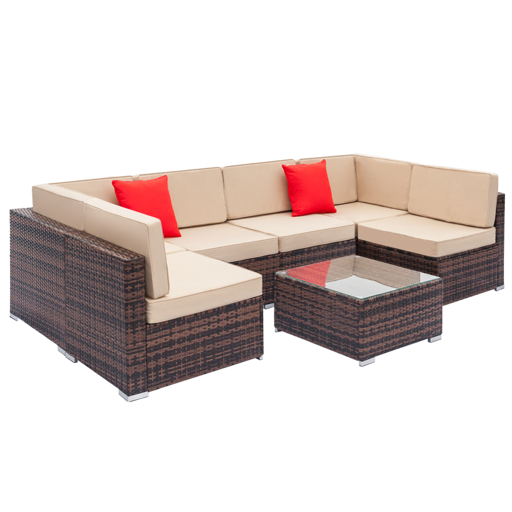 【US Warehouse】PE Rattan And Steel Frame  7-piece Combination Sofa