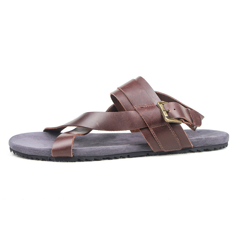 Vintage Summer Gladiator Sandals Men High Quality Leather Beach Slippers Buckle Straps Herren Schuhe Rome Leisure Flats Shoes