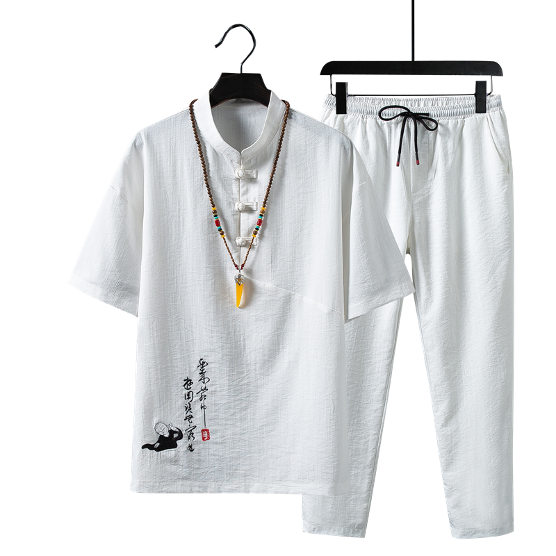 Summer Men Embroidered T Shirt and Pants Large Size S-5xl Chinese Retro Style Men Two-piece Fashion Casual Mens Sets Black Khaki