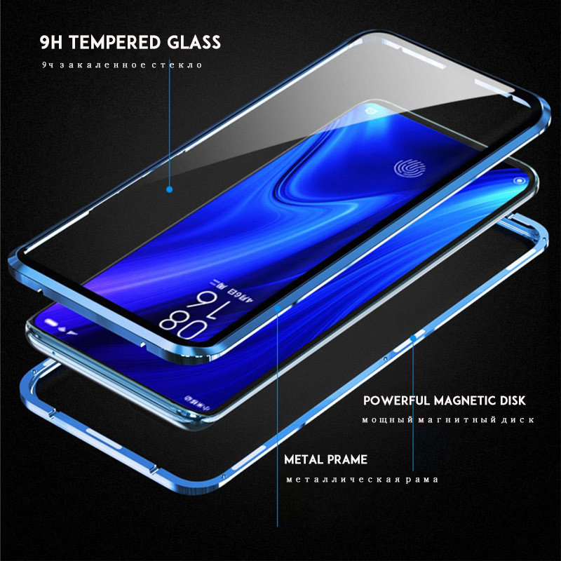 Image 3 - Magnetic Adsorption Case 360 for Xiaomi Redmi note 7 Tempered Glass Full Cover for Redmi K20 Pro Case transparent shockproof-in Fitted Cases from Cellphones & Telecommunications