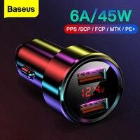 Baseus-cargador de coche USB de carga rápida, 45W, para iPhone 12, Xiaomi, Samsung, teléfono móvil QC4.0, QC3.0, QC tipo C, PD