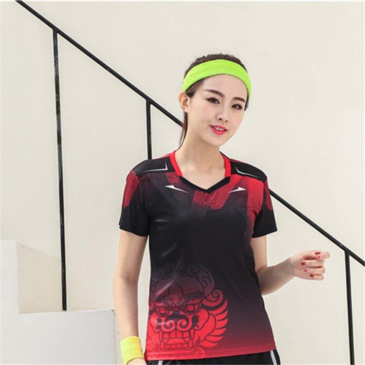 Быстросохнущая, впитывающая пот и дышащая рубашка для бадминтона, топ для соревнований, тренировочный костюм для бега, мужской и женский короткий рукав - Цвет: 1810Bfemale3