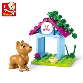 цены SLUBAN Girl Friends 19pcs Pet Puppy Dog House Model Building Blocks Compatible Legoinglys Bricks Animal Toys for Children