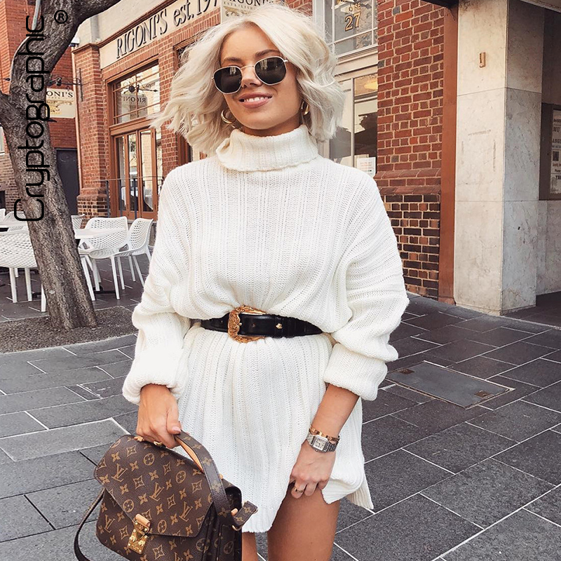 Cryptographic Long Sweaters Dress For Women Loose Striped Split Knitting Turtleneck Pullover Over Size Sweaters Winter 2019