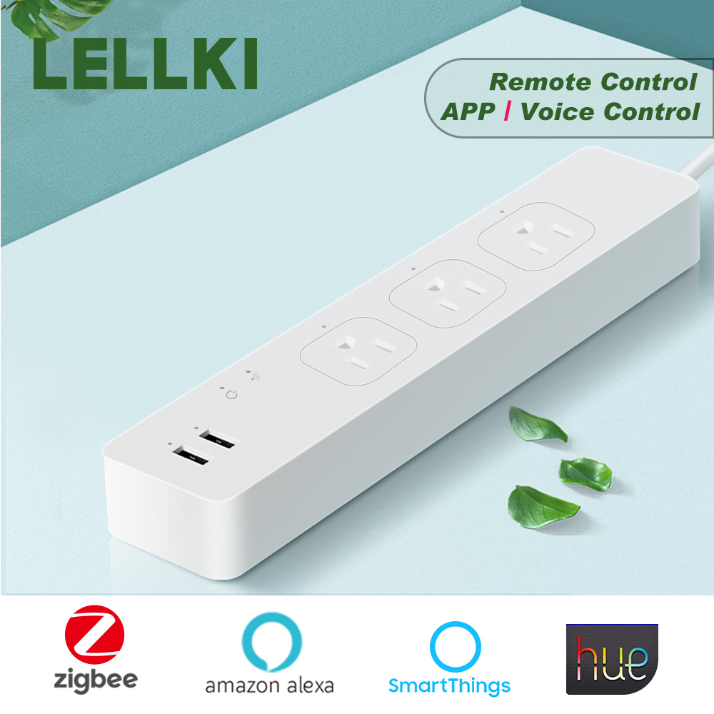 Zigbee plug <font><b>socket</b></font> US Smart Power Strip 10A 220V <font><b>Remote</b></font> Control Smart Home Timer with work Tuya Hub Hue SmartThings Smart Home image