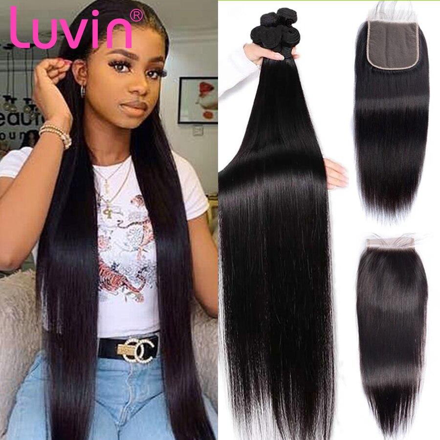 Luvin 13x4 кружева фронтальные бразильские человеческие волосы переплетения 4X4 5x5 пряди с закрытием прямые человеческие волосы пряди с фронталь...