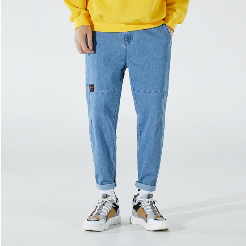 Jeans Men's Korean-style Trend Slim Fit 2019 New Style Popular Brand Loose Straight Skinny With Holes Casual Pants