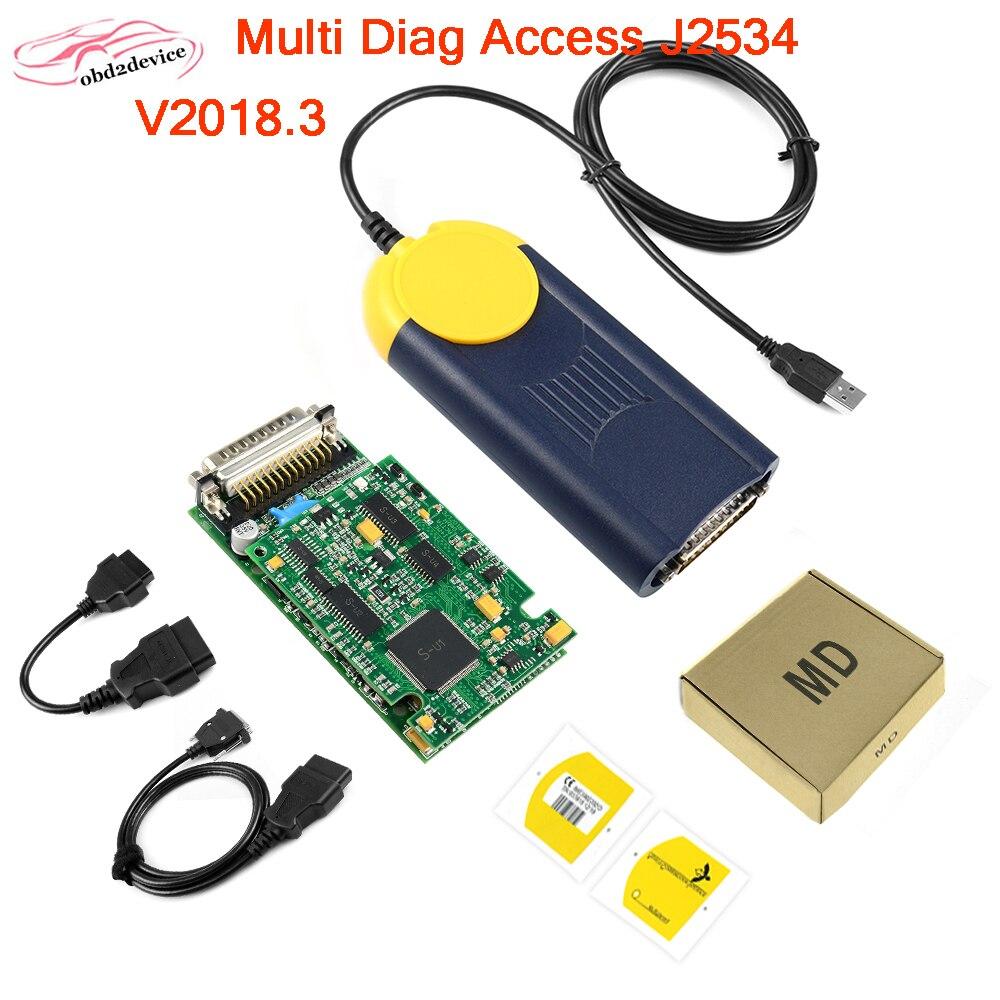Multi-Diag Multi Diag Zugang J2534 interface V2018.3 OBD2 Gerät Multidiag J2534 Diagnose werkzeug Unterstützung Multi-Sprache