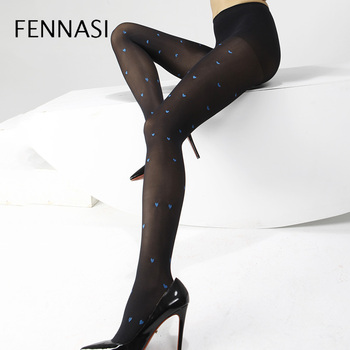FENNASI Jacquard Lovely Heart Pattern Womens Pantyhose Autumn Thick Warm Sexy Nylons Lady Female Erotic Black Tights