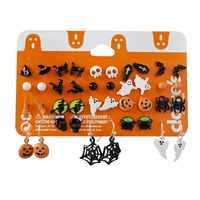 Conjunto de pendientes de Halloween para mujer, Set de 20 pares de pendientes con forma de calabaza, Araña, esqueleto, joyería, colgante, pendientes de Halloween