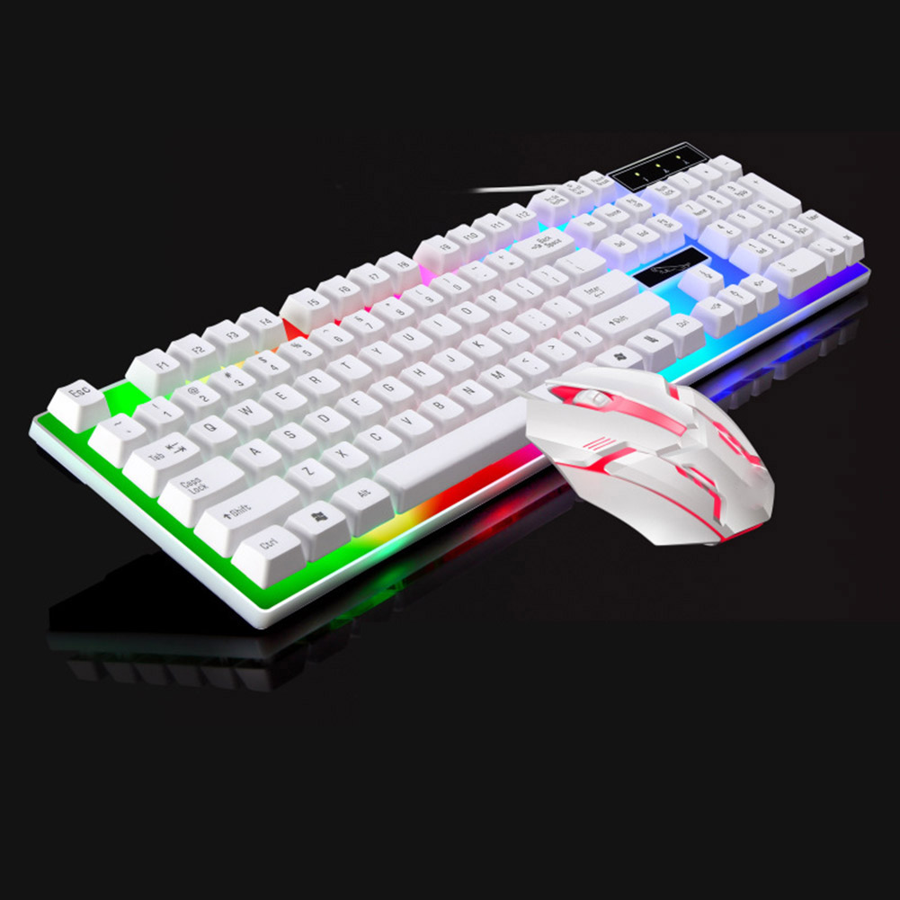 Wired Gaming Keyboard and Mouse Set Colorful LED Backlit USB Gaming Keyboard Mouse for Laptop PC Gamers VH99