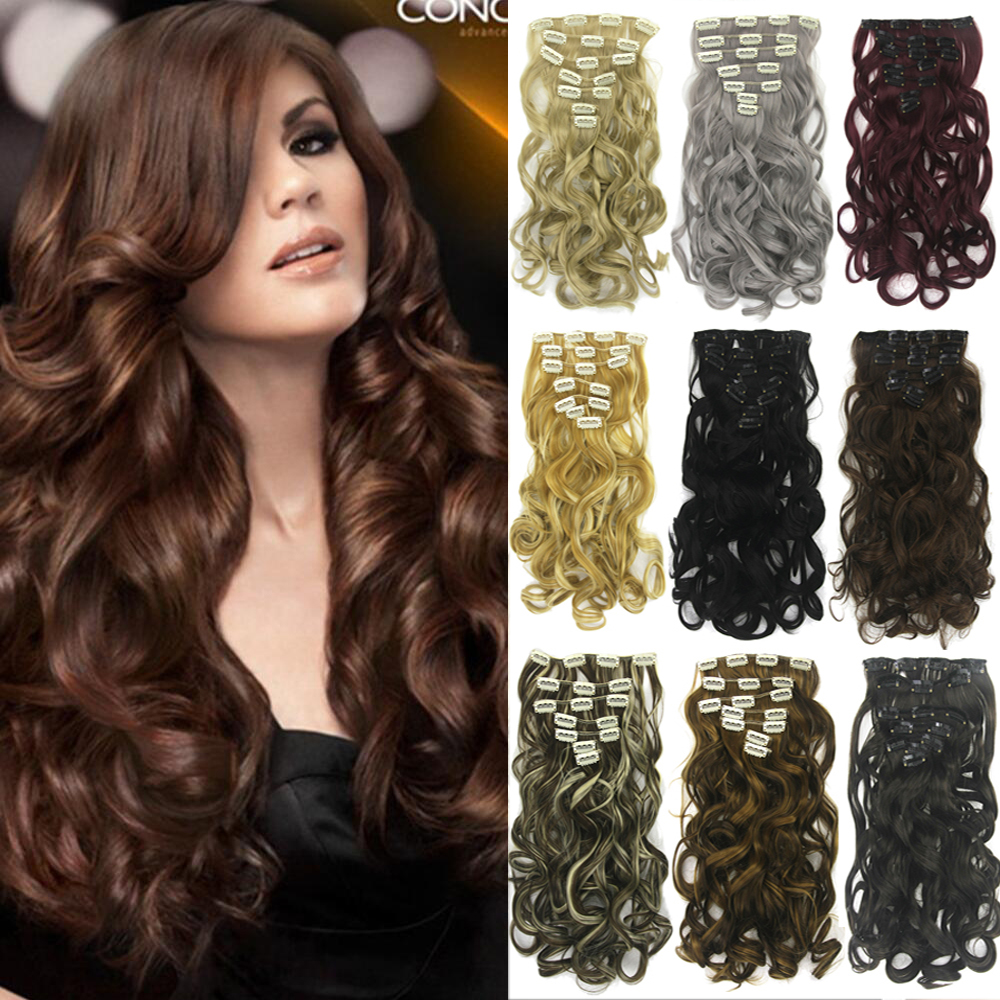 Soowee Long Synthetic Hair Curly Clip In Hair Extensions Black Brown Blonde Women Hairpiece Hair On Hairpins For Women