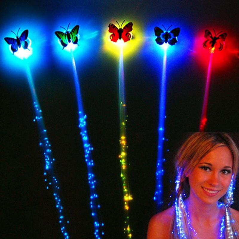 2019 New LED Butterfly Colorful Glowing Toys Christmas Halloween Glowing Toys Hair Braid Butterfly Glow Braid Light Gift