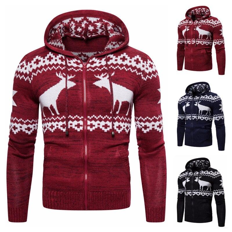 2020 Autumn Winter Cardigan Men's Sweater Men's Zipper Hooded Deer Christmas Sweater Casual Jacket Outwear Hoodies Free Shipping