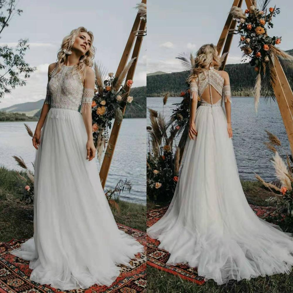2020 Beach Boho Wedding Dress Lace Tassel Short Sleeve Vestido De Noiva Elegant Tulle Bohemia Wedding Gowns