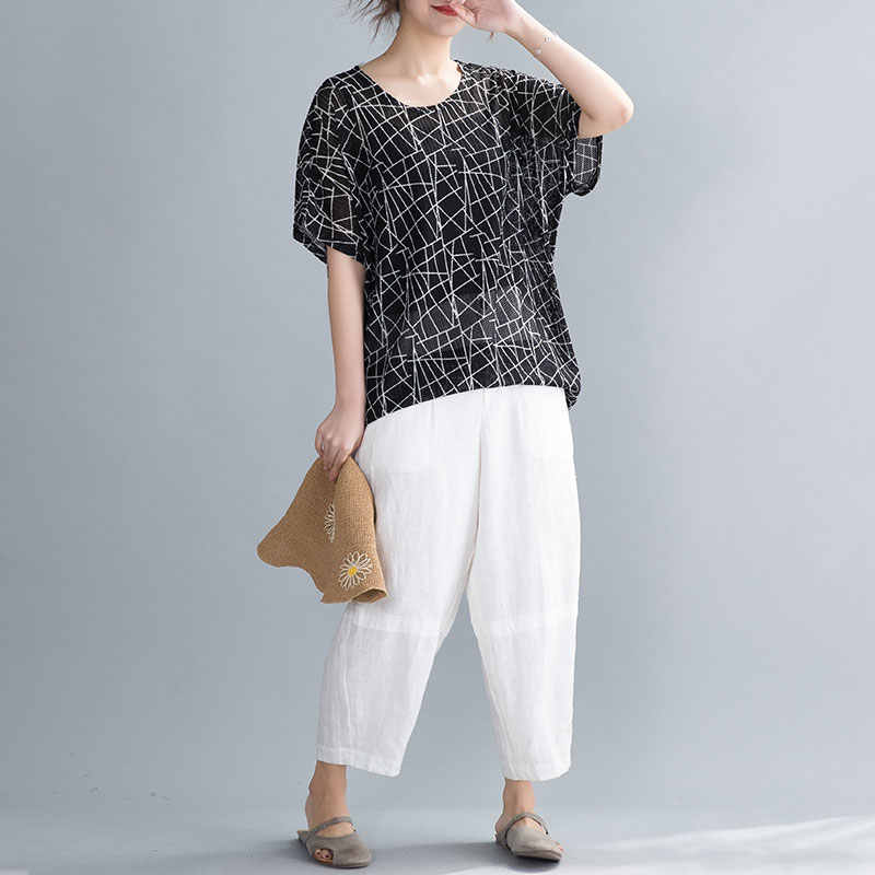 DIMANAF 2020 nouveau grande taille femmes T-Shirts été montre de sport T-Shirts tunique chemises décontracté vintage imprimer ample surdimensionné vêtements noir