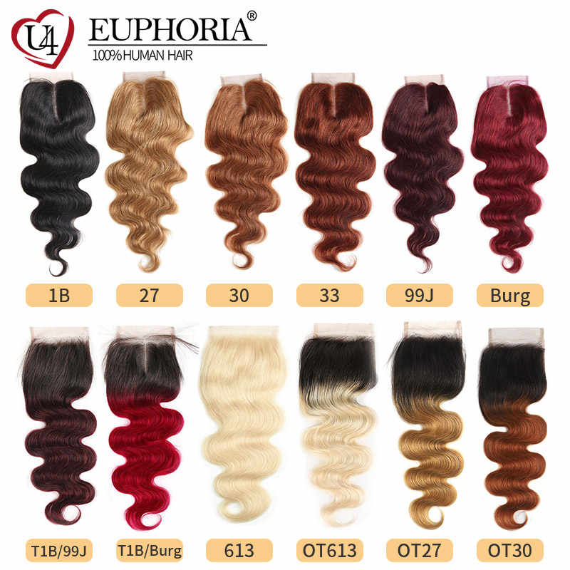 99J/Burgundy Auburn Blonde Color 4x4 Lace Closure Hair EUPHORIA Brazilian 100% Remy Human Hair Pre-Colored Swiss Lace Closures
