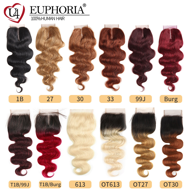 99J/Burgundy Auburn Blonde Color 4x4 Lace Closure Hair EUPHORIA Brazilian 100% Remy Human Hair Pre-Colored Swiss Lace Closures