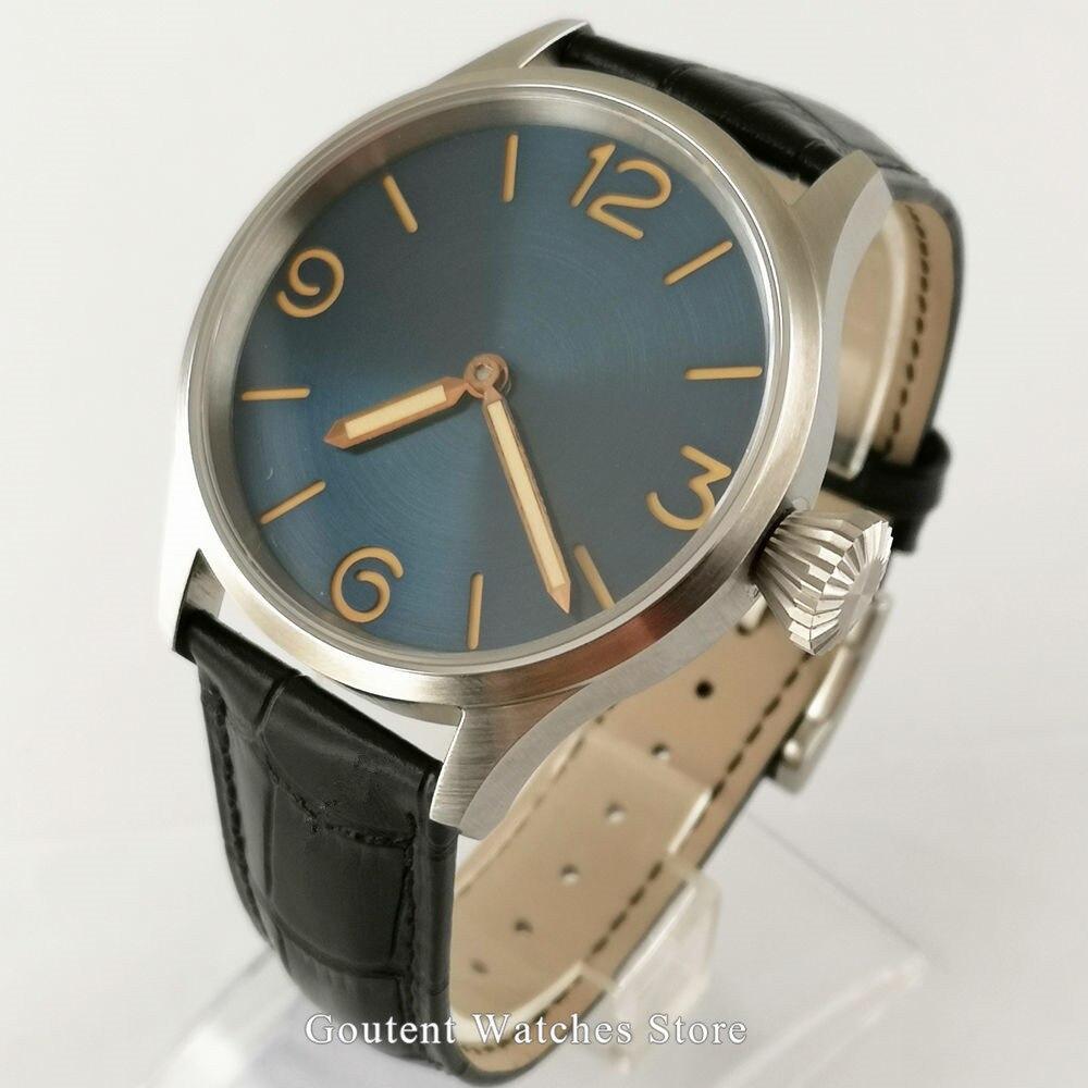 Sterile Men's Watches 43mm Blue Dial Luminous Sapphire Crystal Hand Winding 6497 Wristwatch Clock
