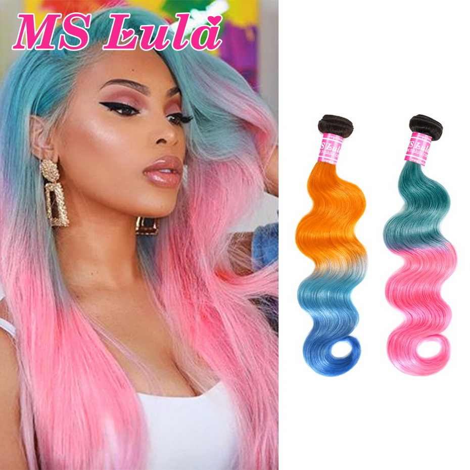MS Lula Hair Brazilian Body Wave Ombre Orange&Blue/Pink&Blue Colored Hair Middle Ratio 100% Human Hair Weave Remy Free Shipping