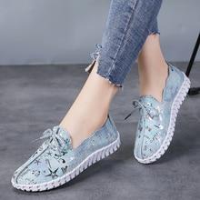 Stq primavera mulher apartamentos mocassins sapatos de couro genuíno apartamentos sapatos femininos rendas até mocassins casuais sapatos de caminhada mulher 7760
