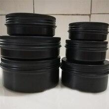 10/15/30/50/60/80/100/150G Hervulbare Doos Zwarte Lege ronde Aluminium Doos Metalen Blikjes Cosmetische Crème Diy Pot Thee Aluminium Pot