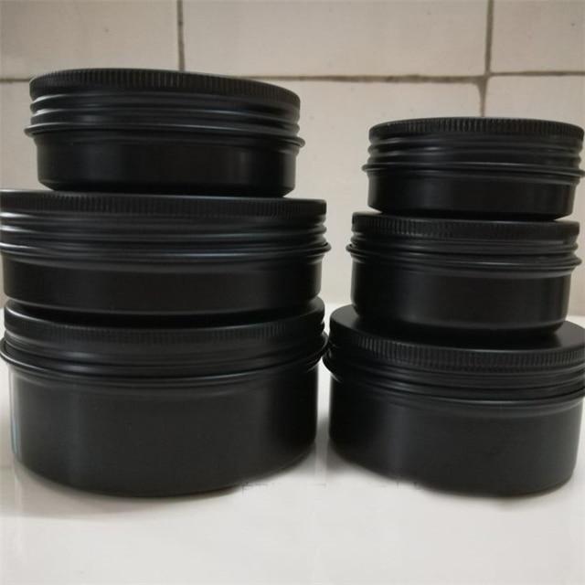 10/15/30/50/60/80/100/150g refillable box black empty round aluminum box metal tin cans cosmetic cream DIY jar tea Aluminum Pot