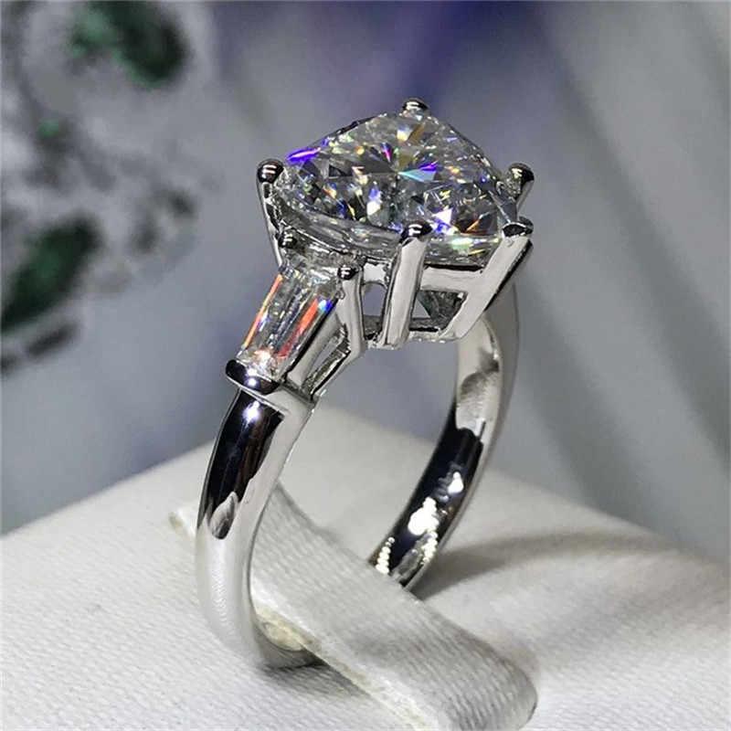 Кольцо Vecalon в форме сердца, серебряная бижутерия 925 пробы 5ct AAAAA Cz, обручальное кольцо для женщин, свадебные украшения
