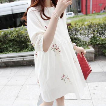 Cotton and Linen Short Sleeved Maternity Dress 1