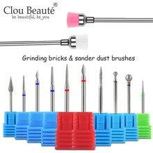 Clou Beaute Cutter do frez do Manicure Bit 10 sztuk Manicure frezy i szlifierka szczotka do kurzu narzędzia do paznokci akcesoria