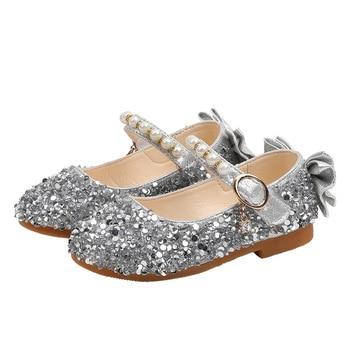 Children Princess Shoes Student Dance For Girls High Heel Sandals Dress Purple Kids Leather Glitter Crystal Banquet - discount item  25% OFF Children's Shoes
