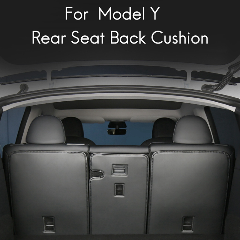 for Tesla Model Y Leather Rear Seats Trunk Anti-Kick Pads Protector Kick Clean Mat Pad Kit Black